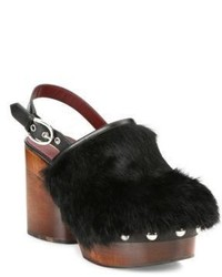 Marc Jacobs Liya Rabbit Fur Wooden Slingback Clogs