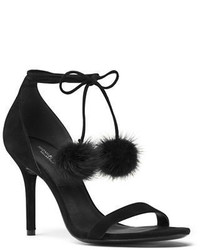 Michael Kors Michl Kors Collection Rosemary Suede Mink Fur Ankle Wrap Sandals