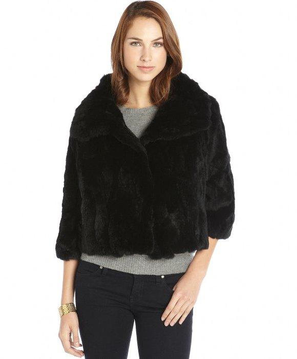 Adrienne Landau Black Rabbit Fur Cropped Wide Collar Cropped ...