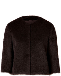 Brunello Cucinelli Alpaca Wool Blend Faux Fur Cropped Jacket