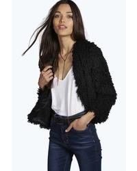 Boohoo Amelia Mongolian Crop Faux Fur Coat