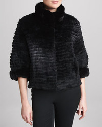 Belle Fare High Collar Layered Fur Coat