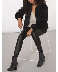 Dorothy Perkins Black Fur Bomber Jacket