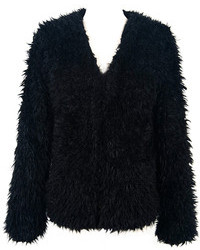 Choies Black Soft Faux Fur Coat With Teddy Texture Lining