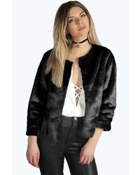 Boohoo Lura Crop Faux Fur Jacket