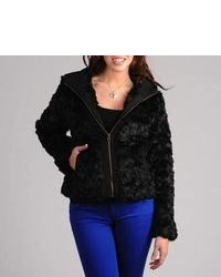 CoffeeShop Juniors Black Faux Fur Zip Up Jacket