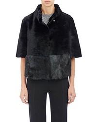 Barneys New York Crop Shearling Jacket