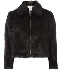 Dorothy Perkins Petite Black Plush Faux Fur Jacket