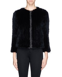 Alice + Olivia Duncan Leather Placket Fur Jacket