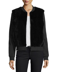 Diane von Furstenberg Dylin Fur Knit Jacket Black