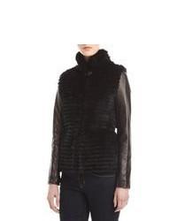 GORSKI Leather Sleeve Layered Rabbit Fur Jacket Black