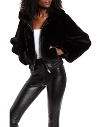 I AM GIA Iam Gia Hooded Crop Faux Fur Jacket