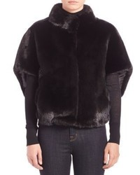 Michael Kors Michl Kors Collection Cropped Mink Fur Cape Jacket
