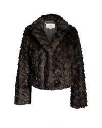 Quiz Black Faux Fur Short Jacket