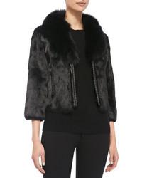 Neiman Marcus Rabbit Fur Jacket W Fox Collar