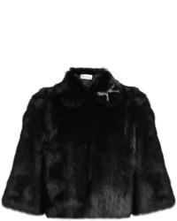 RED Valentino Redvalentino Bow Embellished Rabbit Fur Jacket