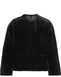Maje Reversible Shearling Jacket Black