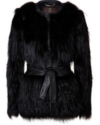 Roberto Cavalli Silver Fox Fur Belted Jacket With Leather Trim