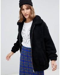 New Look Teddy Faux Fur Bomber Jacket In Black