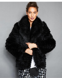 The Fur Vault Fox Fur Lapel Collar Jacket
