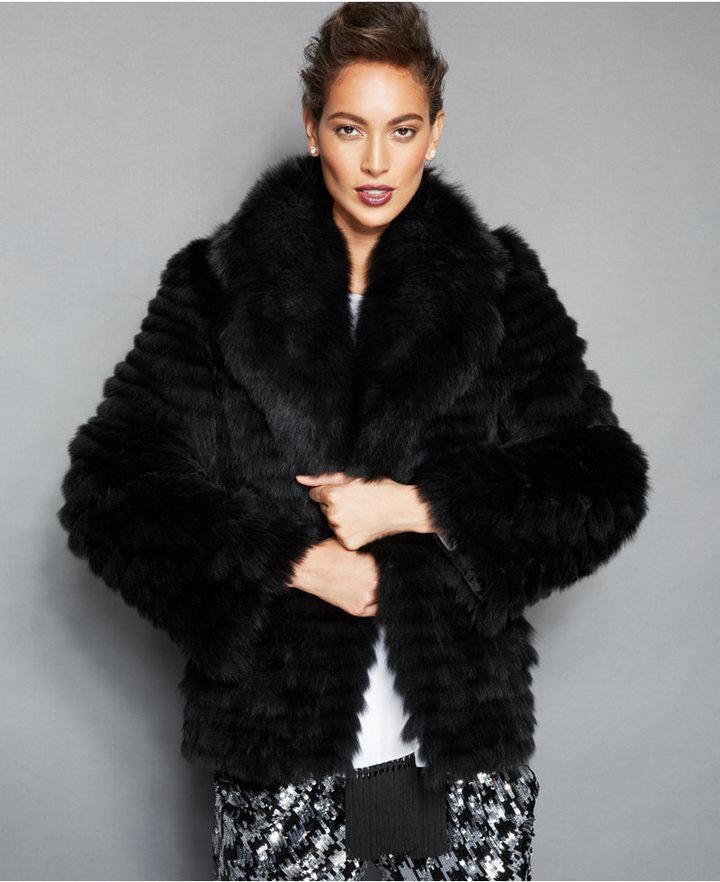cbf9e27764d ... Black Fur Jackets The Fur Vault Fox Fur Lapel Collar Jacket ...