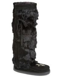 Genuine rabbit fur tall wrap boot medium 117103