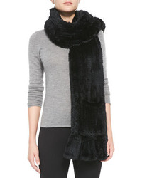Belle Fare Knitted Rabbit Fur Wrap With Pocket Black