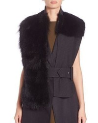 Marni Belted Raccoon Fur Wool Stole