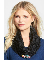 Berry Jewel Brooch Faux Fur Infinity Scarf