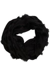 Wyatt Black Knitted Fur Full Circle Scarf