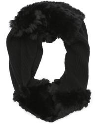 Wyatt Black Rabbit Fur And Cashmere Infinity Scarf