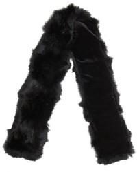 Adrienne Landau Black Rabbit Fur Two Directional Scarf