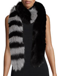 Charlotte Simone Candy Cane Fox Fur Scarf Blackgray