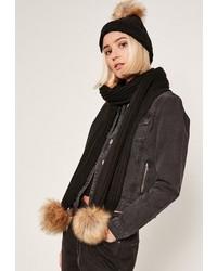 Missguided Faux Fur Pom Pom Hat And Scarf Set Black
