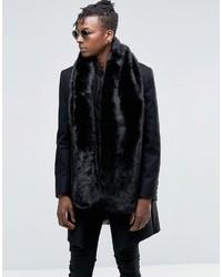 Asos Faux Fur Scarf In Black