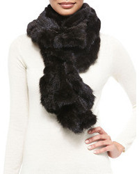 Gorski Knit Mink Fur Ruffle Scarf Black