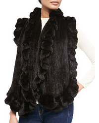 Gorski Knit Mink Fur Ruffle Shawl Black