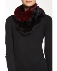 Jocelyn Fur Knitted Long Genuine Rabbit Fur Colorblock Infinity Scarf
