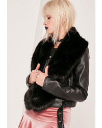 Missguided Faux Fur Stole Scarf Black