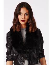 Missguided Rebel Long Faux Fur Collar Black