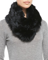 Jocelyn Rabbit Fur Infinity Scarf Black