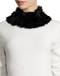 Neiman Marcus Rabbit Fur Neck Warmer Black