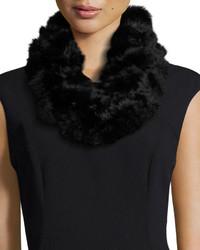 Adrienne Landau Rabbit Fur Pompom Infinity Scarf Black