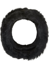 Hat Attack Rabbit Fur Rib Knit Cowl Black