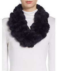 Saks Fifth Avenue RED Rabbit Fur Infinity Scarf