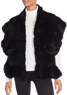 Saks Fifth Avenue Solid Rabbit Fur Shawl