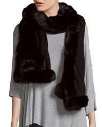 Badgley Mischka Solid Faux Fur Trimmed Scarf 80 X 24
