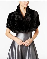 Tahari asl faux fur stand collar shrug medium 3645015