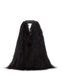 MM6 MAISON MARGIELA Black Faux Fur Shopping Tote