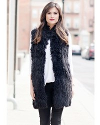 Donna Salyers Fabulous Furs Black Lllama Mid Length Faux Fur Vest